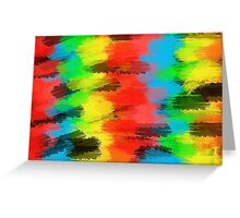 red yellow blue green and black painting texture abstract background Greeting Card