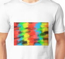 red yellow blue green and black painting texture abstract background Unisex T-Shirt