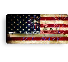 red white blue navy Canvas Print
