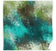 green blue and brown flowers abstract background Poster