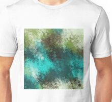 green blue and brown flowers abstract background Unisex T-Shirt
