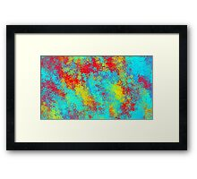 red blue and yellow flowers abstract background Framed Print