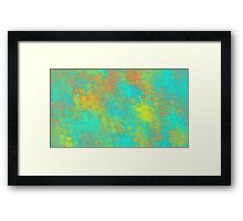 blue yellow and orange flowers abstract background Framed Print