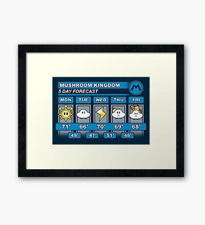 Mushroom Kingdom 5 Day Weather Forecast Framed Print