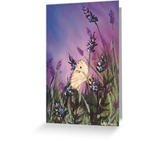 Lavender with the white butterfly 1 Greeting Card