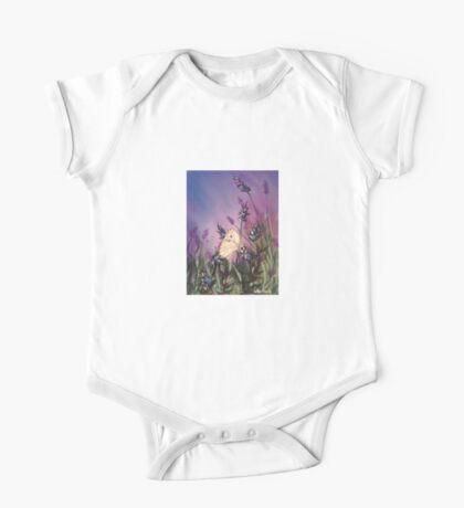 Lavender with the white butterfly 1 One Piece - Short Sleeve