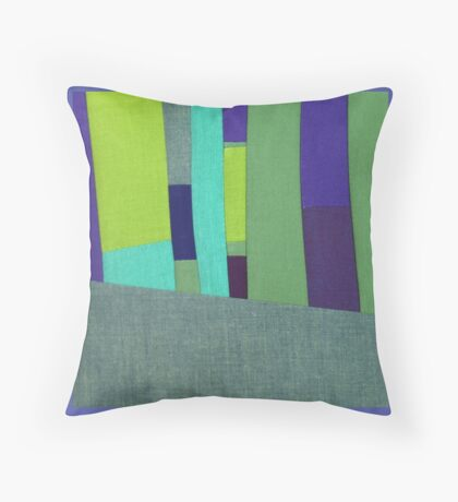 Green and Purple Fabric Art Throw Pillow
