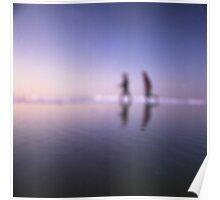 Children running on beach square color analogue medium format film still life Hasselblad  photo Poster
