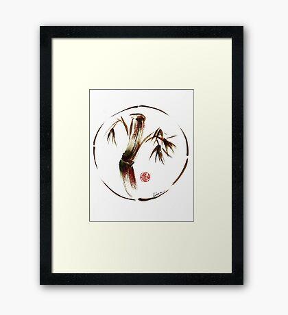 """eternity"" :  Enso sumi-e dry brush acrylic painting   Framed Print"