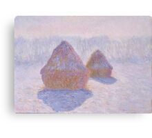Haystacks, Effect of Snow and Sun by Claude Monet Canvas Print