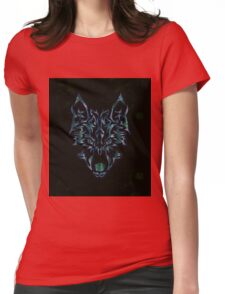 Tribal Wolf Design Womens Fitted T-Shirt