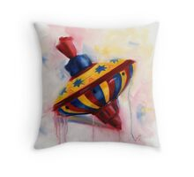 Spinning Top - keep on spinning - retro Throw Pillow