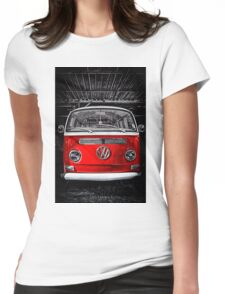 Volkswagen mini van camper red Womens Fitted T-Shirt