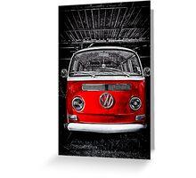 Volkswagen mini van camper red Greeting Card