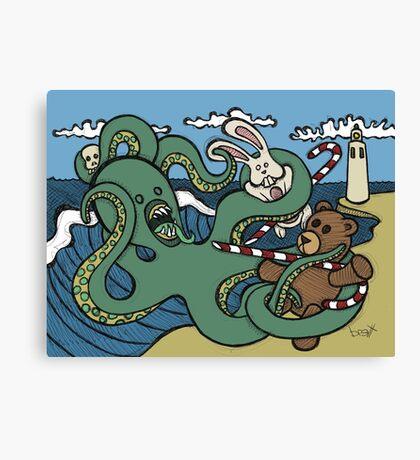 Teddy Bear And Bunny - Epic Battle Canvas Print