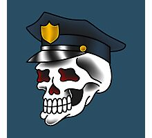 Traditional Police Officer Skull Design Photographic Print