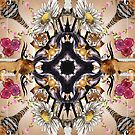 Abstract floral pattern with lions, tigers and angels by mikath