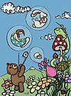 Teddy Bear And Bunny - The Bubble Flower by Brett Gilbert
