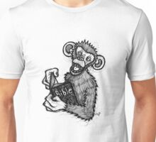 Monkey Laughing At Bible Unisex T-Shirt