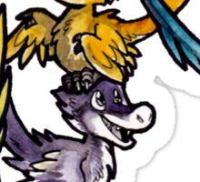 Feathered Velociraptor Pile Cartoon Sticker