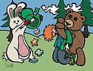 Teddy Bear And Bunny - Not So Lucky by Brett Gilbert