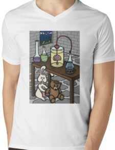 Teddy Bear and Bunny - The Rescue Came Too Late Mens V-Neck T-Shirt