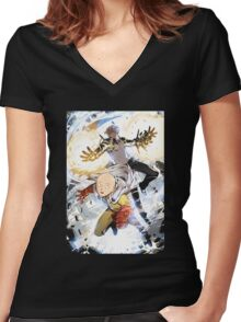 One Punch Man Saitama And Genos Women's Fitted V-Neck T-Shirt