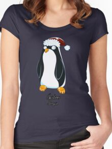 Christmas Penguin Derp Women's Fitted Scoop T-Shirt