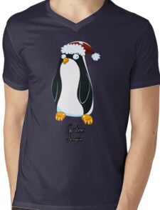 Christmas Penguin Derp Mens V-Neck T-Shirt