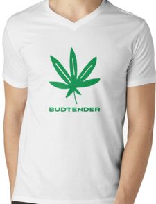 Budtender Weed Leaf 420 Go Green Mens V-Neck T-Shirt
