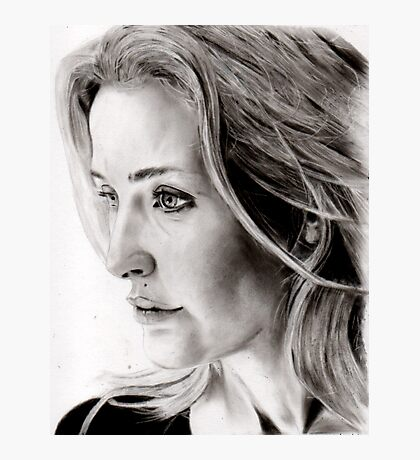Gillian Anderson charcoal Photographic Print
