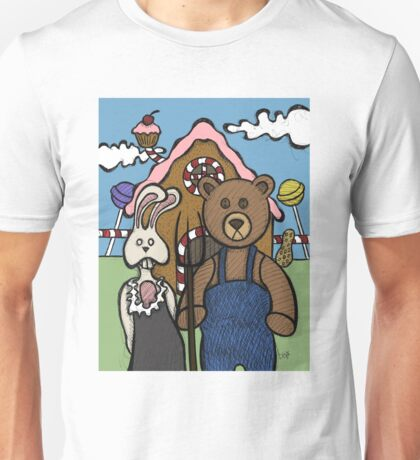 Teddy Bear And Bunny - Abearican Gothic Unisex T-Shirt