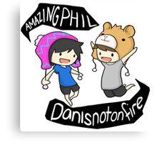 Amazingphil & Danisnotonfire cartoon Canvas Print