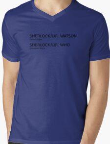 Sherlock & Dr. Watson & Dr. Who  Mens V-Neck T-Shirt