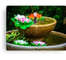 Flowers In A Fountain Canvas Print