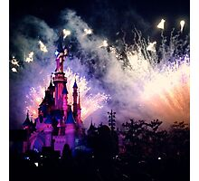 Sleeping Beauty's castle with Fireworks Photographic Print