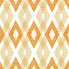 Orange Geometric Diamond Check Pattern by B Rush