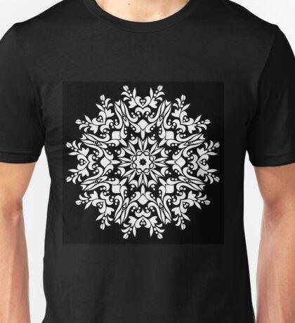 White ornamrental round pattern Unisex T-Shirt