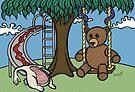 Teddy Bear And Bunny - The Playground by Brett Gilbert