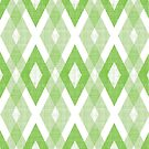 Green Geometric Diamond Check Pattern by B Rush