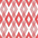 Red Geometric Diamond Check Pattern by B Rush