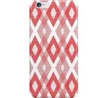 Red Geometric Diamond Check Pattern iPhone Case/Skin
