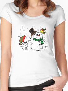 Snoopy & Woodstock play with snowman Women's Fitted Scoop T-Shirt