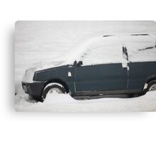 small car under snow Canvas Print