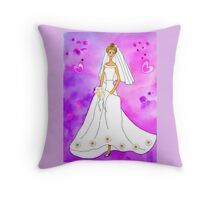 Pretty bride inspired by Barbie Throw Pillow