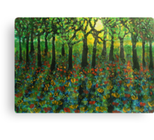 Tulips amongst Bluebells at sunset Canvas Print