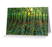 Tulips amongst Bluebells at sunset Greeting Card