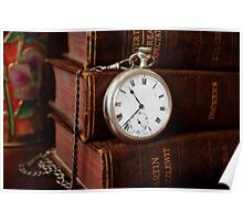 Old Books With Pocket Watch Poster