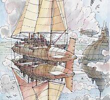 Il Veliero Volante e la Citta' Mongolfiera by Luca Massone  disegni