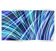 Color & Form Abstract - Blue Light Refraction Poster